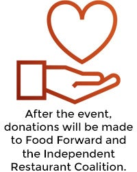 After the event, donations will be made to benefit the restaurant industry.