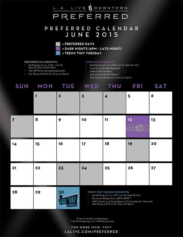 L.A. LIVE Downtown Preferred Calendar | L.A. LIVE