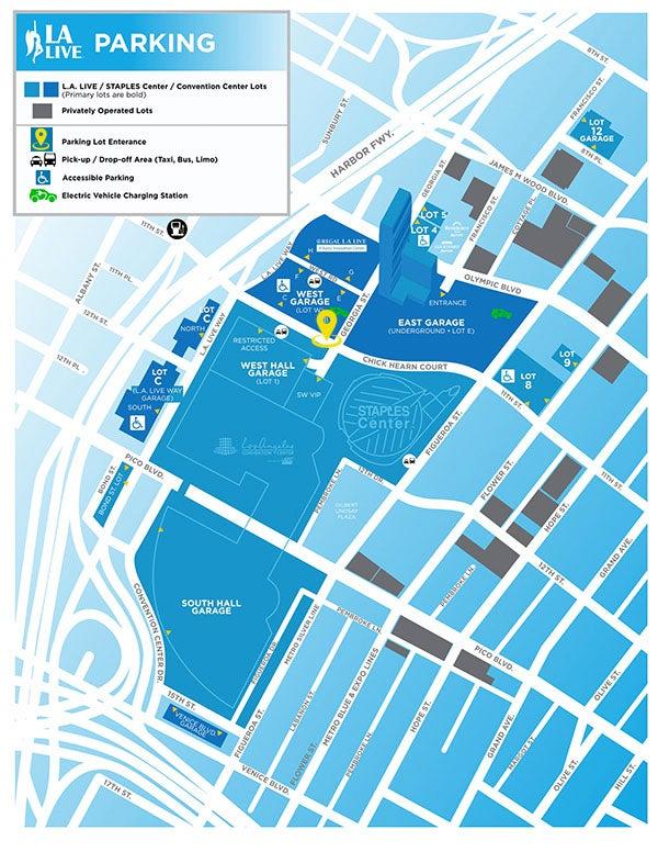 L.A. LIVE Parking Map